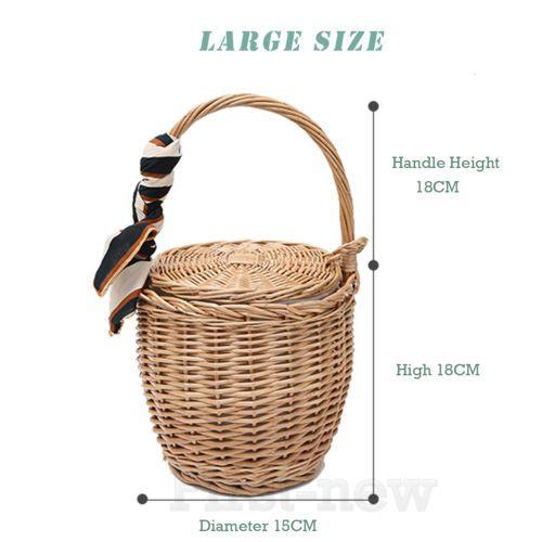 100% Handmade Straw Woven Tote Wicker Bag With Lid Fashion Bamboo Basket Handbag