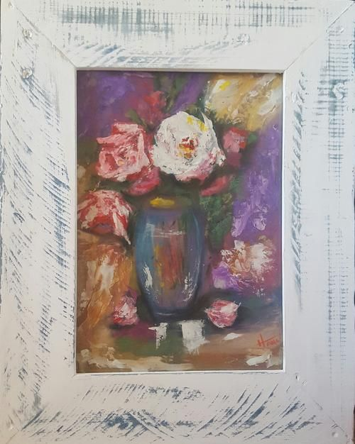Buy FRAMED - Roses for you - Painting with watercolours and soft Pastels Solid wood Frame included for R600.00