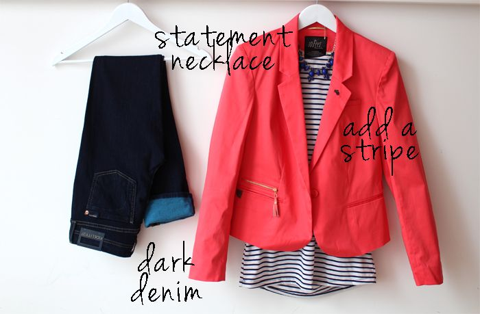 coral jacket add a stripe & dark denim...in other words the perfect casual jean outfit