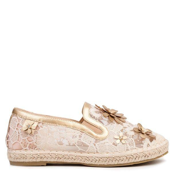 Beige espadrille with lace and mesh. Features decorative gold flowers and rhinestones.