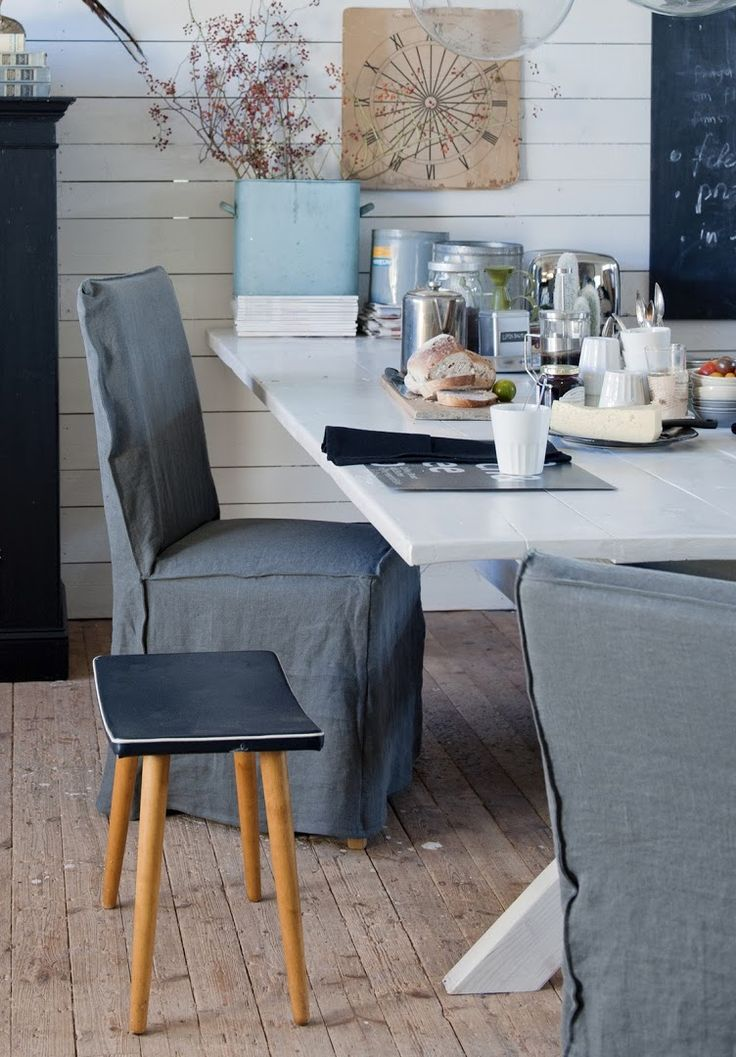 Industrial dining. Henriksdal chair covers, Loose Fit Urban style in Medium Grey Rosendal Pure Washed Linen. www.bemz.com