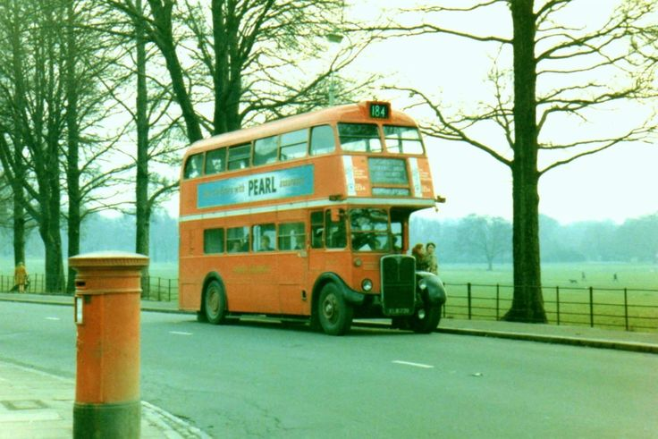 A 184 Bus going along the side of Peckham Rye Pack Peckham South East London England in October 1968