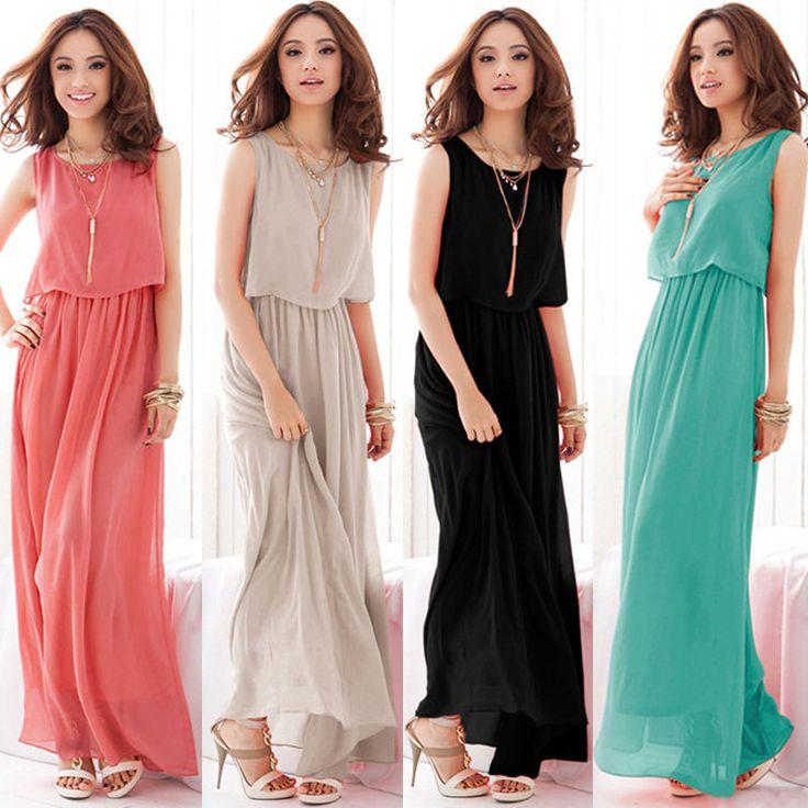 Womens Chiffon BOHO Evening Cocktail Party Beach Casual Long Maxi Summer Dress #OTHER #Sundress #Casual