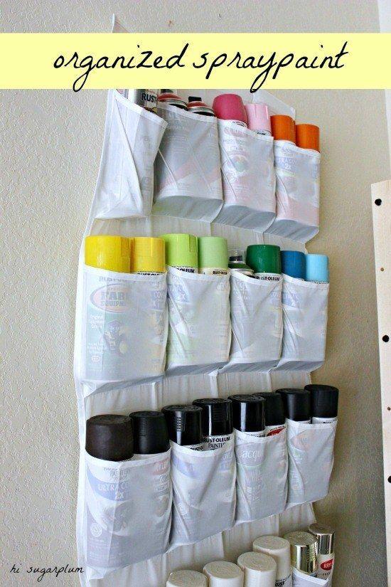 Store your spraypaint in a shoe organizer. | 38 Borderline Genius Ways To Organize Your Garage