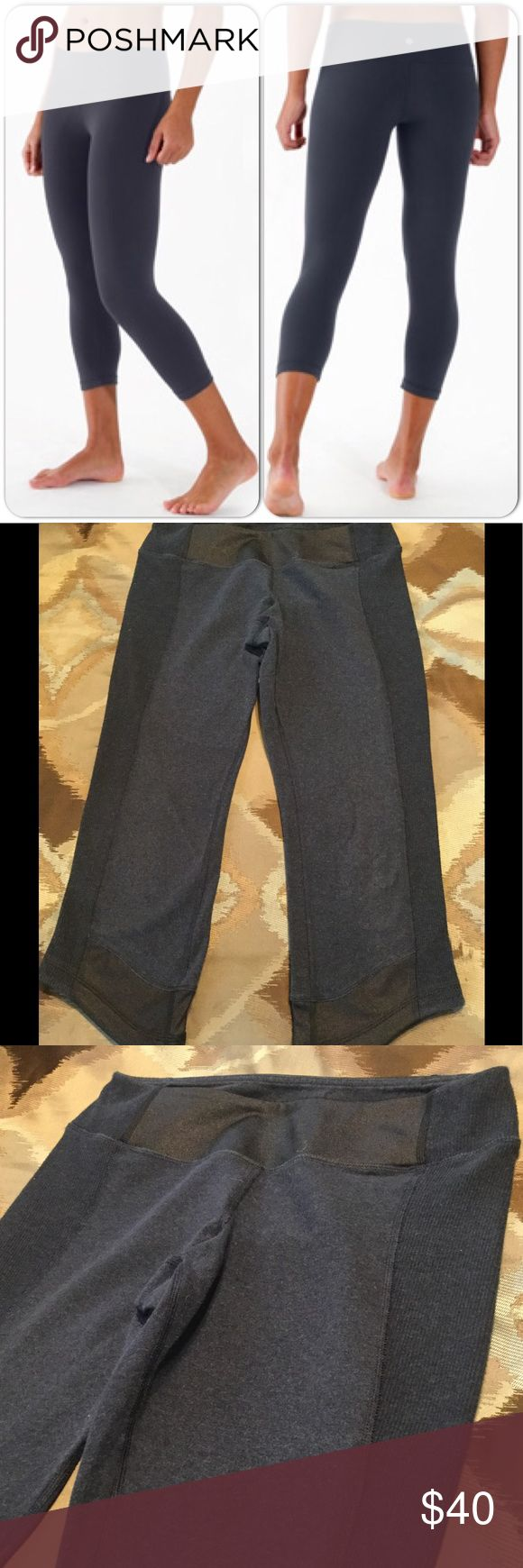 GET THE LOOK - LULULEMON CAPRI PANTS! Dark blue (almost gray looking) cotton and ribbed cotton combo on these LULUs.  A black polyester band at top and also accents the bottom leg. Angled at the bottom edge.  Size tag is gone but size 6 pants.  Good condition and ready for wear.  Actual pants being sold in pics 2-8.  Pic 1 is of a similar looking item. lululemon athletica Pants