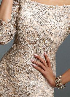 Etui-Linie Schulterfrei Knielang Spitze Reißverschluss Mit Ärmeln 3/4 Ärmel Nein Champagner Frühling Sommer Herbst Übliche Kleid für die Brautmutter