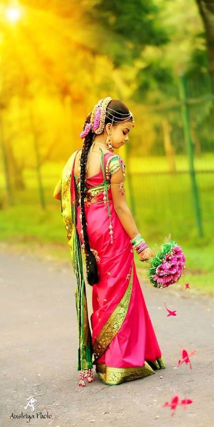 Brilliant Colored South Indian Style Saree