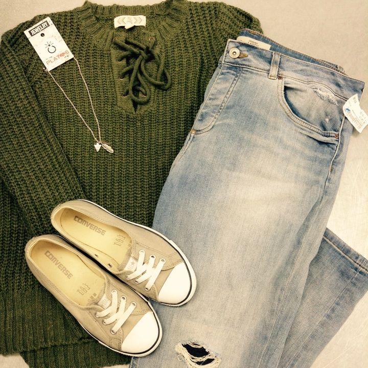 We love how shades of green make us feel like spring is on its way – No matter what the forecast says! This lush green sweater is so lovely & perfect with some tan #Converse slip-ons – Warm weather, here we come! #springiscoming #PlatosClosetNewmarket | www.platosclosetnewmarket.com