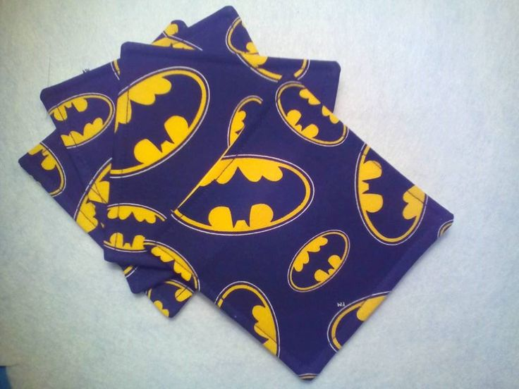 Batman ~ Marvel comics ~fabric coasters ~ I'm Batman ~ bright yellow bat signal on black back ground ~ by pegsplacetosew on Etsy
