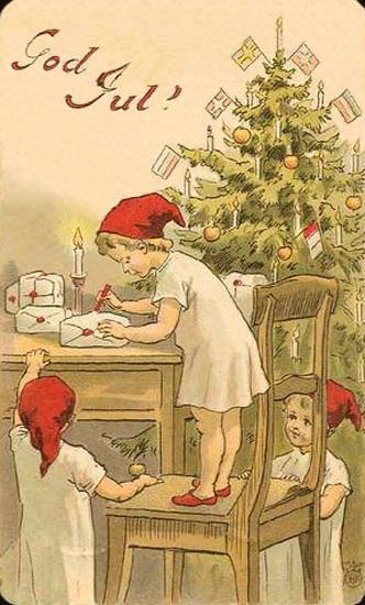 Anne Charlotte Sjöberg (1864 – 1947, Swedish)  God Jul postcards