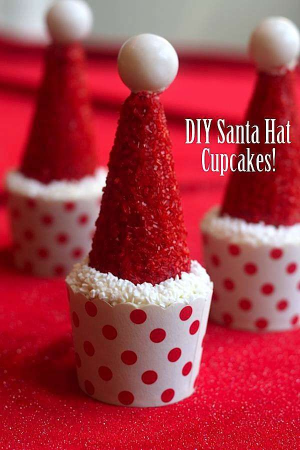 DIY Santa Hat Cupcakes ~ fun for Christmas made with ice cream cones!