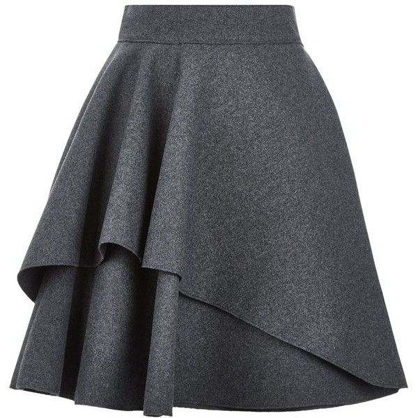 Alexander McQueen Double Layer Flare Skirt found on Polyvore featuring skirts, mini skirts, ruffle skirt, layered skirt, ruffle mini skirt, mini circle skirt and short flared skirts