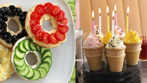 Olympic bagel rings and ice cream cone torches filled with cupcake batter