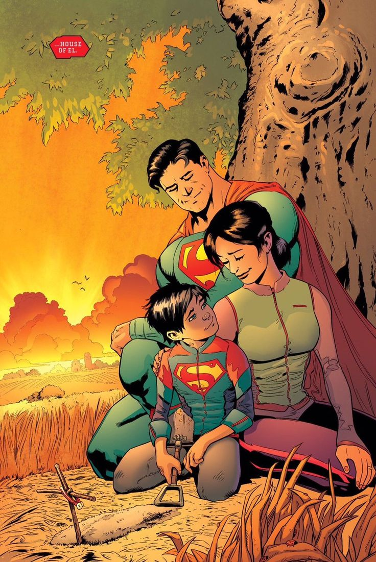 Superman, Lois Lane, and their son.