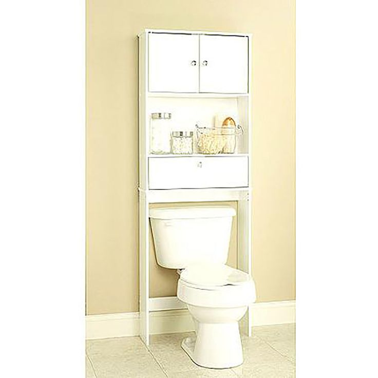 Apply Over the Toilet Storage to Maximize Your Bathroom Space - Simple White Over the Toilet Storage for Soaps and Shampoo in Minimalist Bathroom with Cream Wall