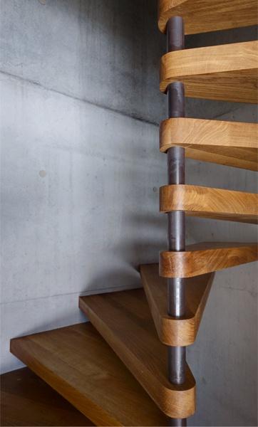 Nice spiral stair detail. Schutzhütte im Laternsertal, Marte.Marte Architekten, Photo: Marc Lins