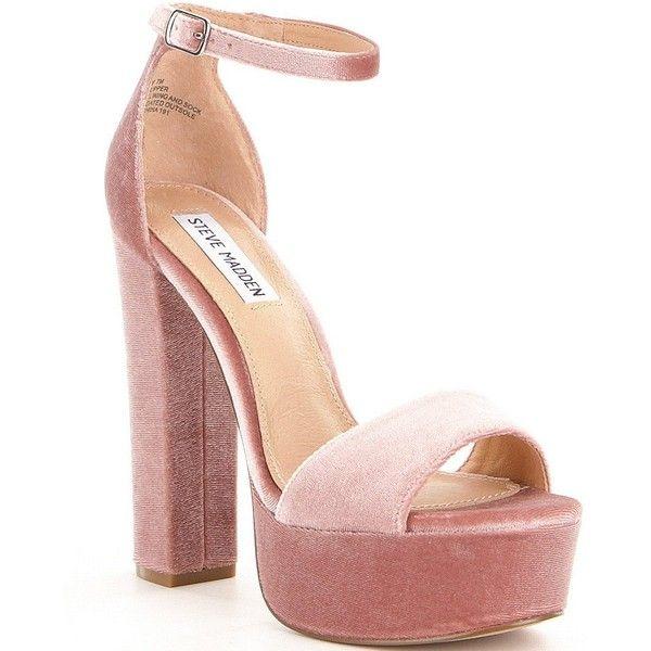 Steve Madden Gonzo Velvet Ankle Strap Block Heel Platform Dress... (£46) ❤ liked on Polyvore featuring shoes, sandals, block heel shoes, platform sandals, platform dress sandals, steve madden footwear and platform shoes