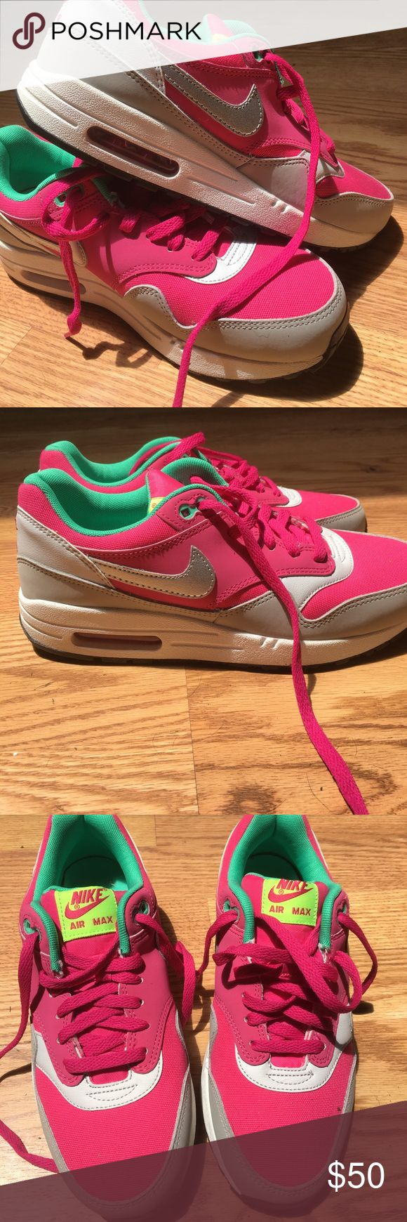 Nike Air Max One Pink and Gray Nike air Max One's with a lime green lining. Brand new never worn Nike Shoes Sneakers