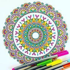 Channelling my inner hippy! #draw #drawing #doodle #doodling #doodleart #mandala #pattern #design #paper #pen #colour #staedtler #ink #tattoo #art #myart #boho #gypsy #hippie #hippy #inspired #sketch #wip #beautiful_mandalas #rainbow