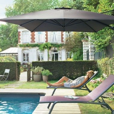 Parasol deport royal grey 3x4 m l 39 unit ext rieur - Parasol deporte rectangulaire 4x3 ...