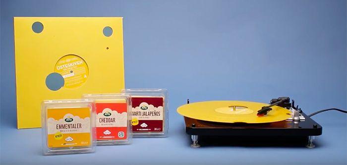 Arla commercialise différentes sortes de fromages, dont le fameux emmental et ses nombreux trous caractéristiques. Pour communiquer sur ses différentes variétés d'emmental, la marque a collaboré avec l'agence Ogilvy pour mettre au point un vinyle avec des trous.