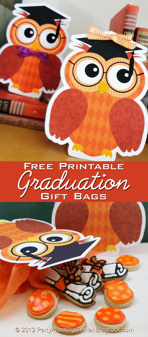 Birthday gift bags 5 cooking for oscar - Free Printable Graduation Owl Gift Bag Template From Partyplanningcenter Blogspot Com