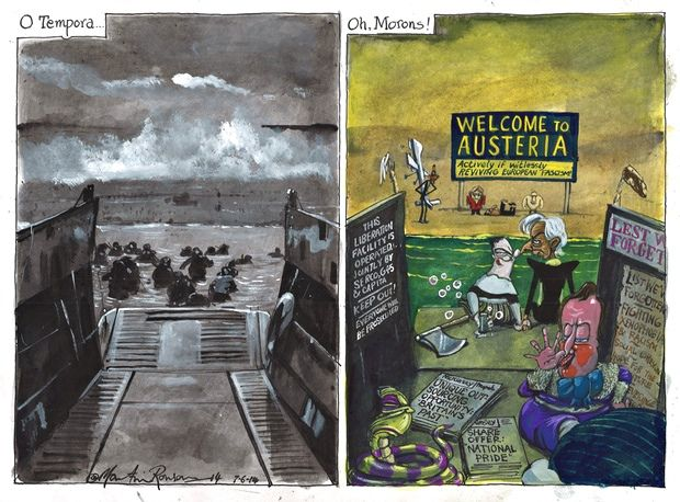 7 June 2014 - Martin Rowson on D-day and the European Union - cartoon
