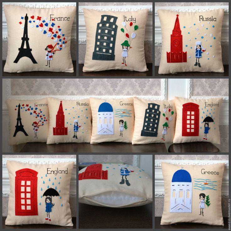 """Купить подушка """"Франция"""" - кремовый, подушка декоративная, подушка на диван, подушка в подарок, путешествие, путешественнику"""