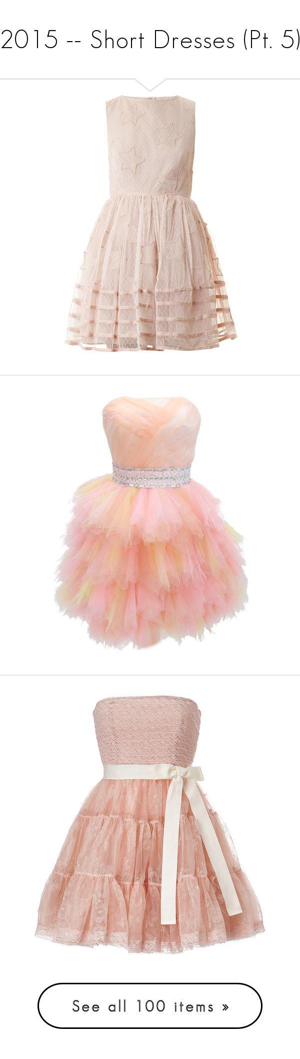 """2015 -- Short Dresses (Pt. 5)"" by kyla-perez-santiago ❤ liked on Polyvore featuring dresses, vestidos, light pink, mini party dresses, pink polka dot dress, embroidered dress, going out dresses, pink mini dress, gowns and short cocktail dresses"
