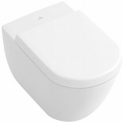 Badkamer boven en toilet beneden wandcloset direct flush ceramicplus V&B subway 2.0 direct flush 5614R0R1 WIT Closetzitting met quickrelease en softclosing 9M68S101 WIT