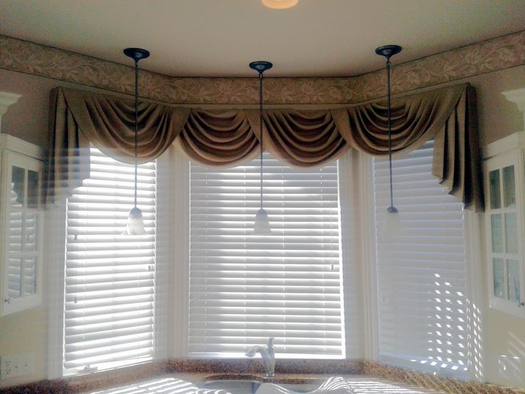 Swag Curtain Valance Over Wood Blinds Curtains