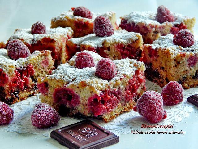 Bibimoni Receptjei: Málnás-csokis kevert sütemény