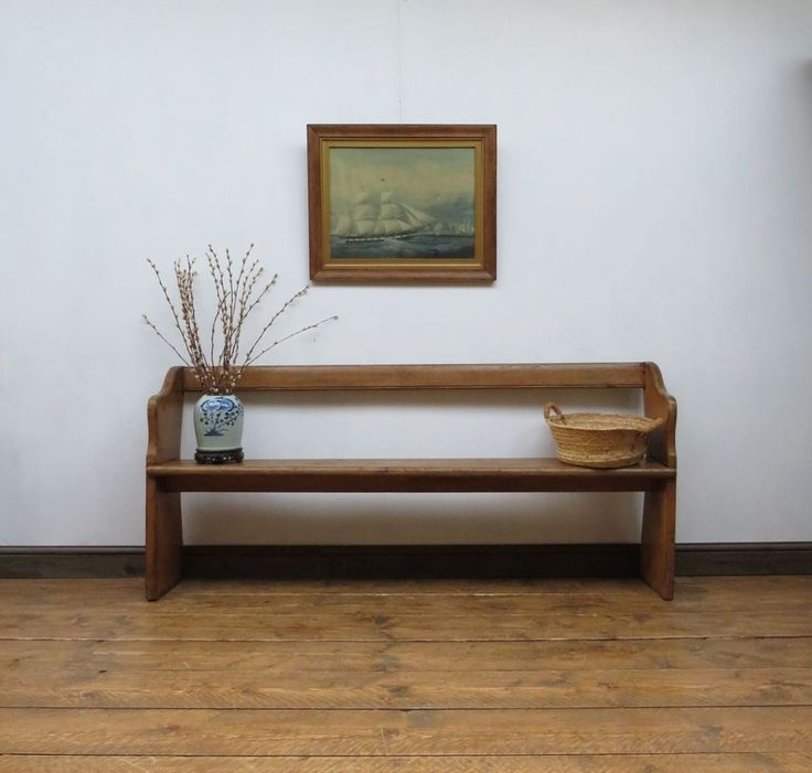 Primitive Old Pitch Pine Pew School Bench, Rustic Country Style Hallway Seat #countryRusticprimitiveschool #Benches
