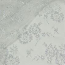 Krajka bílá 13776, stříbrná výšivka š.145