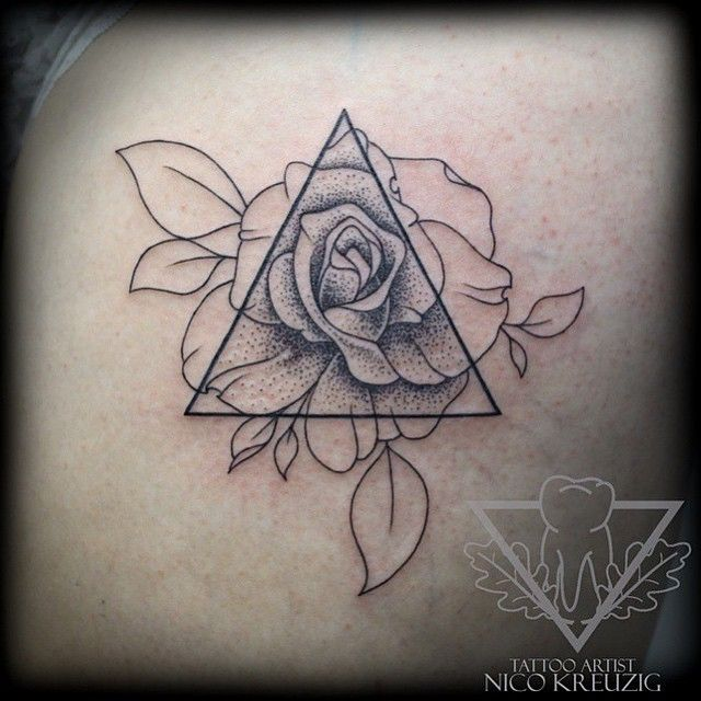 a triangle with lilacs in it but on the outside of the triangle they look different somehow