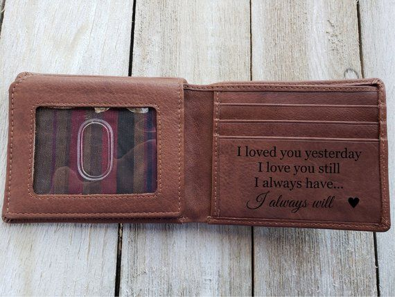 Mens Personalised Leather Wallet Dad Birthday Gift Anniversary Boyfriend Husband