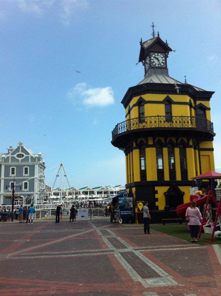 The Clock Tower, painted yellow in honour of the World Design Capital nomination 2014. V&A Waterfront