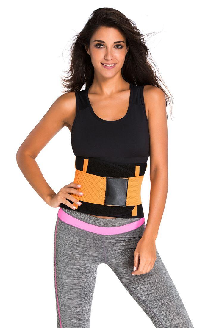 Clip zip waist trainer perfect floral design waist training cinchers - Orange Sweat Band Waist Training Belt