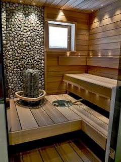 sauna with rock wall