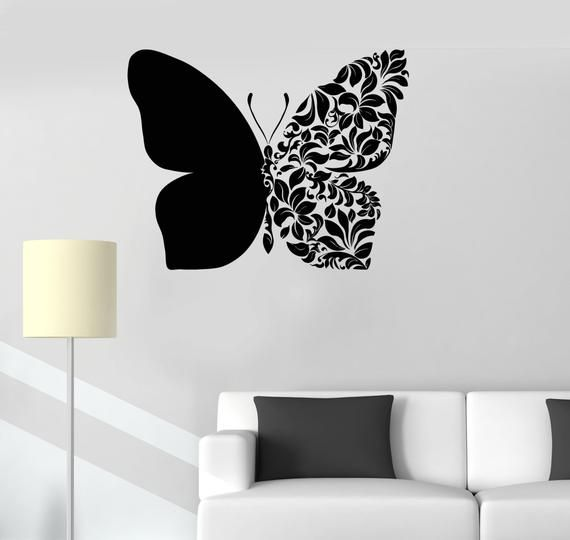 Wall Vinyl Decal Butterfly Flower Ornament Symbol Of Endurance Etsy Wall Painting Decor Simple Wall Paintings Butterfly Wall Art