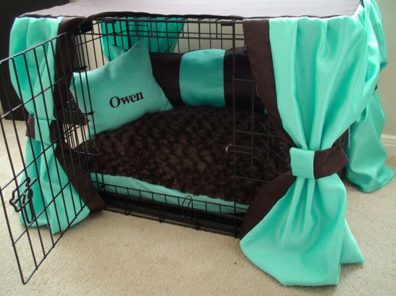 Dog Crate Cover Ensemble in Mint & Chocolate 5 Pieces by lmikel, $98.00