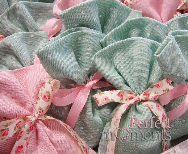 Πουγκια βεραμαν ροζ με φλοραλ κορδέλα