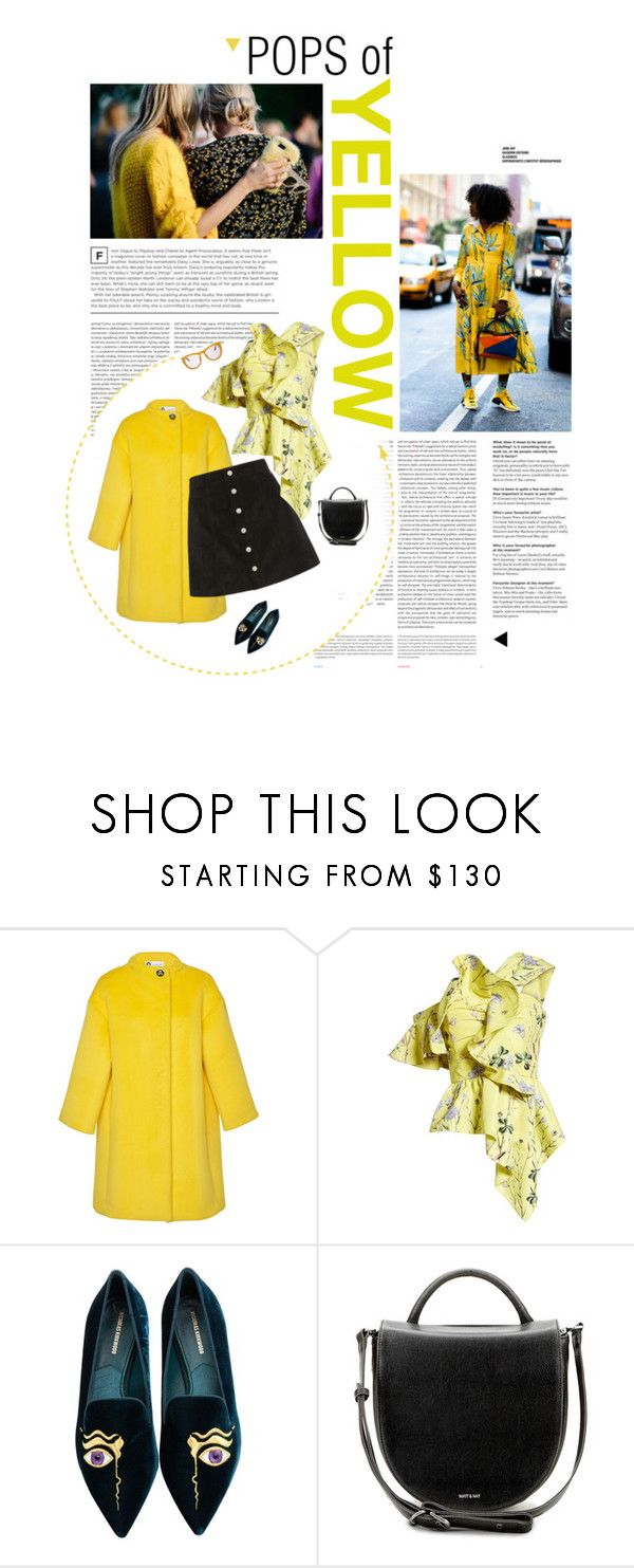 """""""Tuesday afternoon - in yellow details"""" by mgoslin ❤ liked on Polyvore featuring Oris, Lanvin, AG Adriano Goldschmied, self-portrait, Nicholas Kirkwood, Matt & Nat and Smoke x Mirrors"""