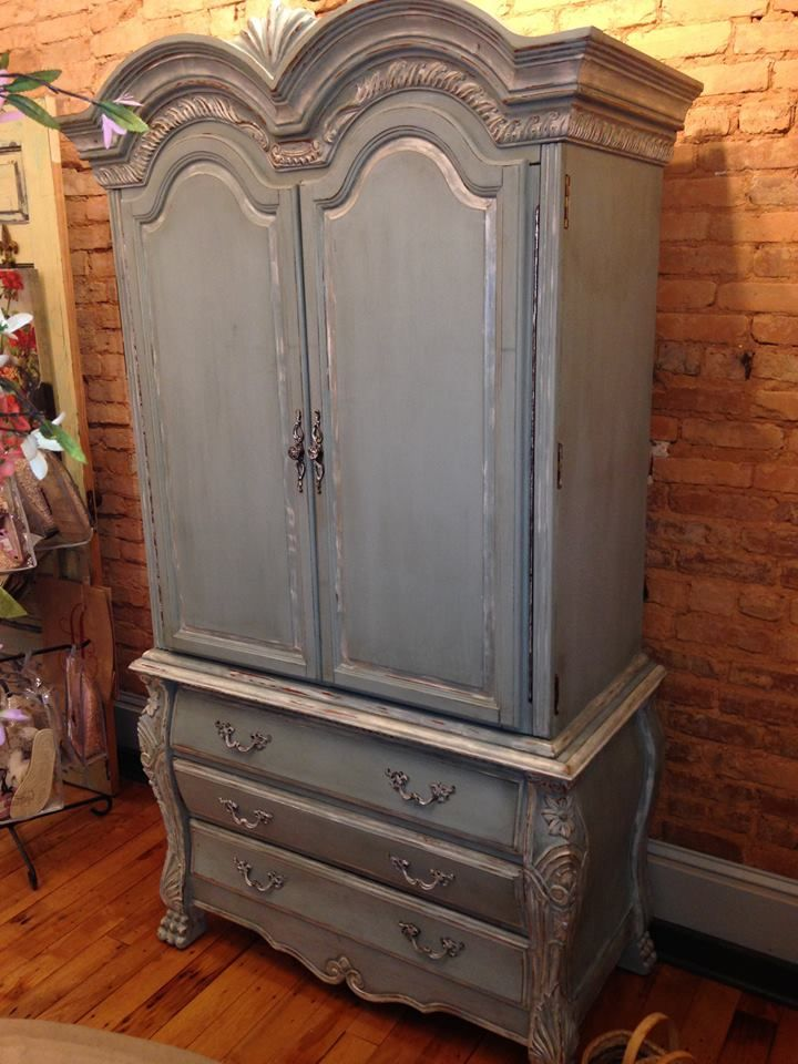 Beautiful armoire painted in a mix of cece caldwell 39 s for Cece caldwell kitchen cabinets