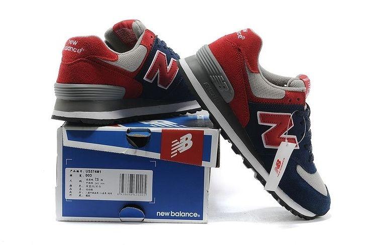 Мужские красно-синие кроссовки New Balance 574