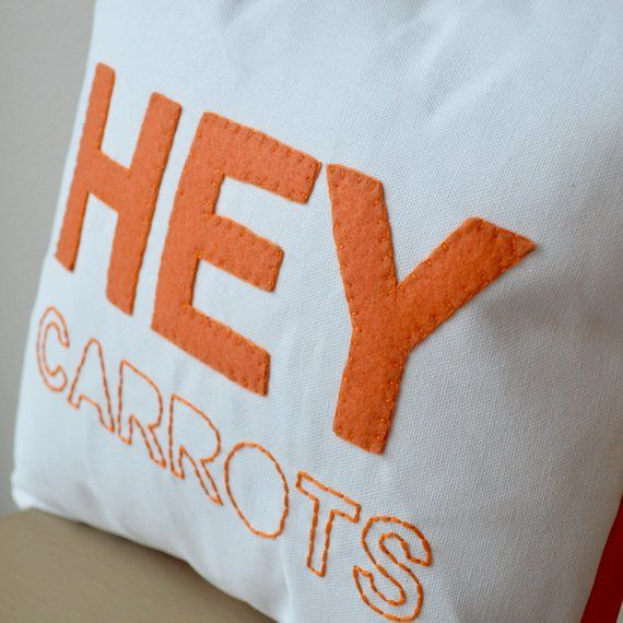 Hey Carrots Anne of Green Gables Orange Quote Embroidered Felt Decorative Throw Pillow Cover Hey Carrots Anne of Green Gables Orange Quote Embroidered Felt Decorative Throw Pillow Cover