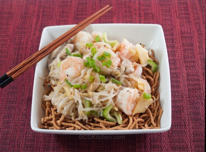 Ho Ho's Chinese Restaurant Shrimp Chow Mein - Fresh shrimp is stir fried with bean sprouts, water chestnuts, mushrooms, and bamboo shoots and served with crispy chow mein noodles.