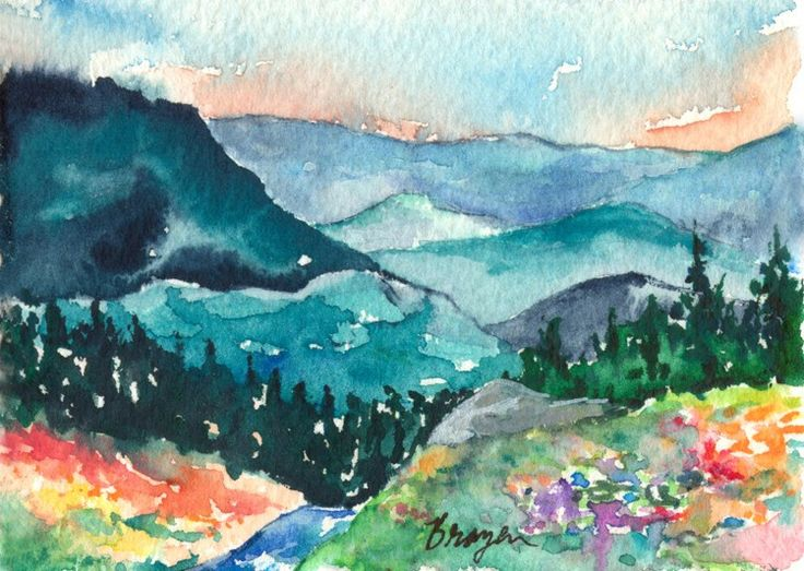 Watercolor Landscape Painting - Valley of Dreams Mountain Wildflowers - Art Print