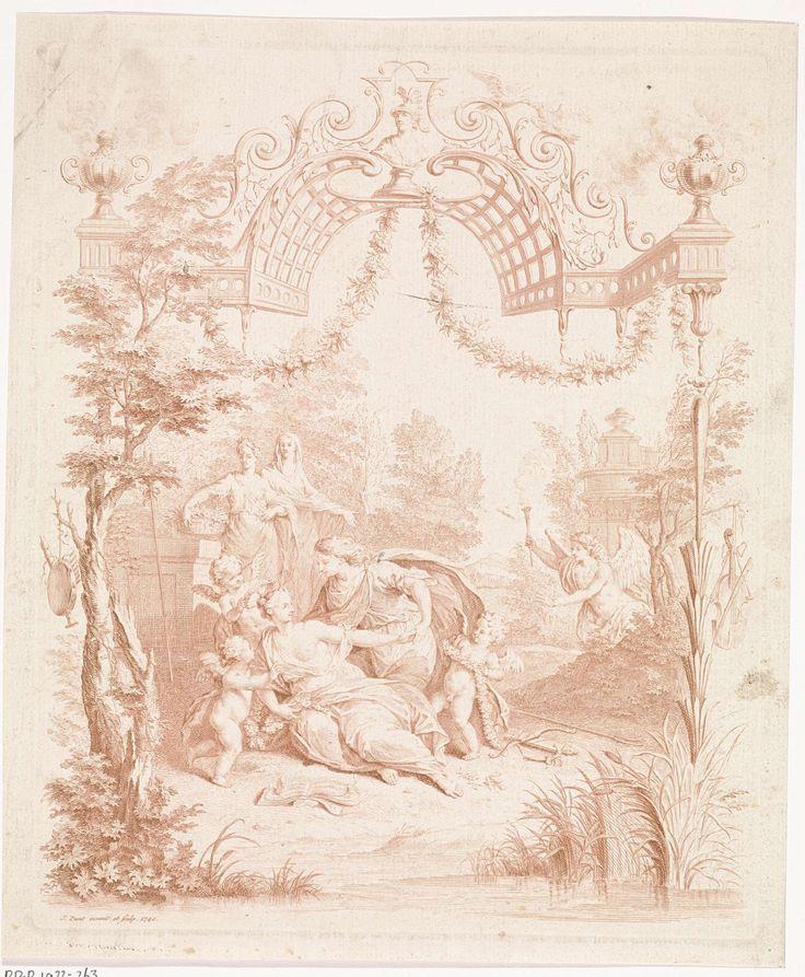 Jan Punt | Liefdespaar in een landschap, Jan Punt, 1740 | Een liefdespaar langs de oever van een rivier, omringd door putti. Voor hen ligt een opengeslagen liedboek. Achter hen Overvloed en een tweede allegorische vrouwfiguur. Rechts komt de huwelijksgod Hymen aangesnelt. De voorstelling is gevat in een ornamentele omlijsting, bekroond met een buste van Minerva, en aan weerszijden muziekinstrumenten. De prent is mogelijk vervaardigd ter gelegenheid van een huwelijk.