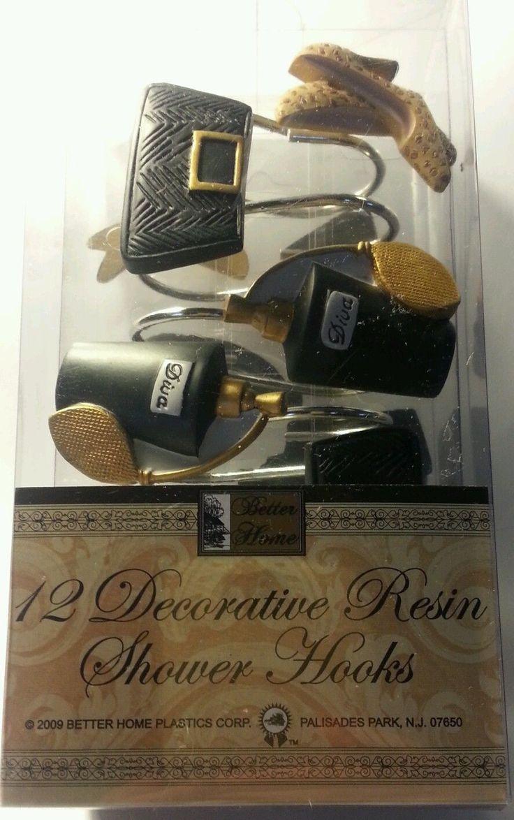 Christmas shower curtains on ebay - Better Home 12 Resin Retro Shower Curtain Hooks Shoes Purse Perfume Bottles New Ebay